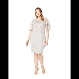 Adrianna Papell Metallic icy lilac Lace Dress